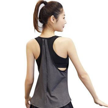 Women Pro Gym Sports Tank + Bra T Shirt Yoga Workout Vest Fitness Training Exercise Running Clothing Compress Tee Tops Clothes