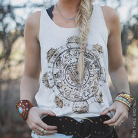 Gold Shimmer Aztec Sundial Tank - Three Bird Nest | Women's Boho Clothing & Indie Accessories