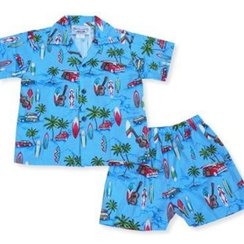beach time blue hawaiian boy cabana set