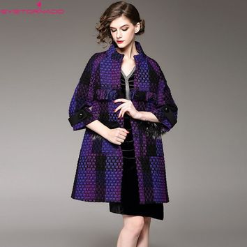 Women plaid pattern fur patchwork gradient purple tweed wool coat casual work woolen blends coats outwear casaco femme 7551