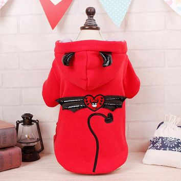 Cute Cat Costume - Red or Purple Demon/Devil Hoodie for Cats