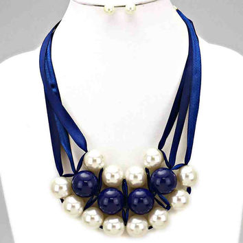Pearl Satin Statement Necklace Set Blue