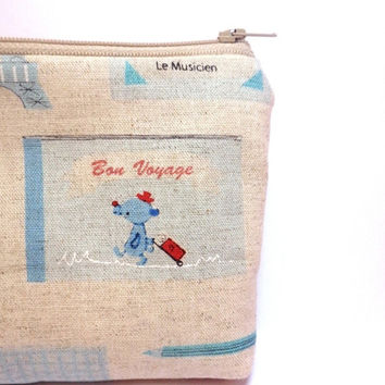 Small Zipper Pouch Coin Purse Small Wallet Cotton Linen French Travel Blue