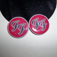 Foo Fighters vinyl record studded earrings