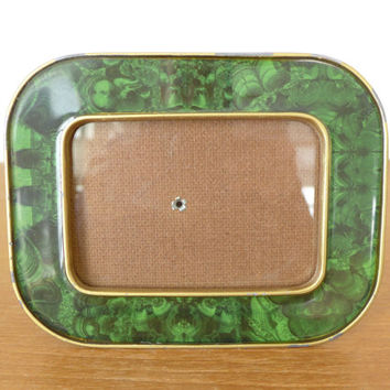 Malachite look enamel picture frame, green marbleized frame