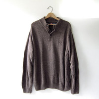vintage slouchy sweater. oversized brown sweater. henley pullover shirt.