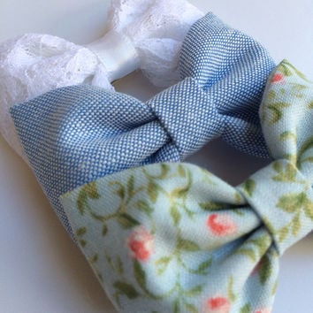 Blue chambray, white lace, and pale blue floral hair bows from Sparrow bows make the perfect birthday gift.