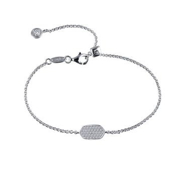 Sterling Silver Pointed Oval Shaped Simulated Diamond Bracelet