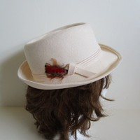 80s Cream Wool Womens Fedora Kates Boutique Wool Felt Vintage 1980s Hat Made in Canada