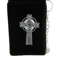 Celtic Cross Tombstone Tri-fold Wallet w/ Chain Occult Clothing