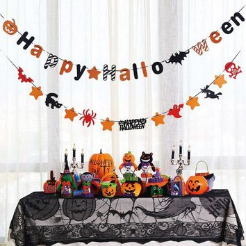 Halloween Party Decorations pumpkin LED Light Black Lace Spiderweb tablecloth Halloween Cosplay Costume Trick Props Kids Favor