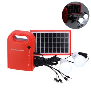 Portable Solar Panel Power Generator USB Cable Battery Charger Emergency Charging LED Lighting System for Household Street Lighting (Red)