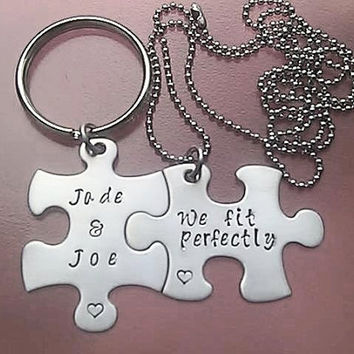 We fit perfectly  Puzzle Piece Necklace / Keychain Set with names
