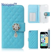 iPhone 5C Case, Nccypo Luxury Soft Grid Leather Wallet Slim Protective iPhone 5C Skin Case Cover For Apple iPhone 5C[Bling Crystal Pendant Pattern-Blue] with Stylus, Screen Protector and Cleaning Cloth