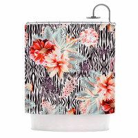 """Nika Martinez """"Tropical Fusion"""" Red Floral Shower Curtain"""