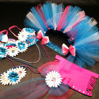 EDC, rhinestone & daisy Rave, Hippie, costume, dance, festival bra top, bustle (1/2 tutu) and shorts rave outfit