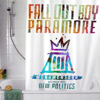 "fall out boy paramore Black christmas gift, Custom Shower curtain, Sizes available size 36""w x 72""h 48""w x 72""h 60""w x 72""h 66""w x 72""h"