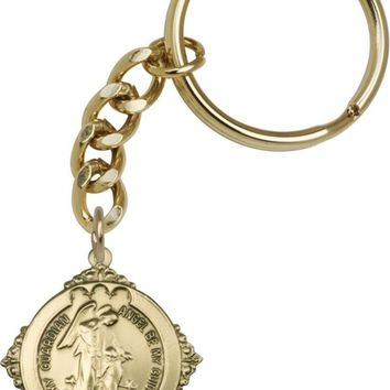 Antique Gold Guardian Angel Keychain. Religious Keyring. Guardian Angel.
