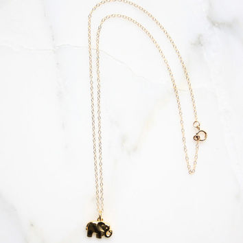 Elephant Necklace, Dainty Necklace, Dainty Elephant Necklace, Gold Elephant Necklace, Elephant Necklace Gold, Elephant Charm Pendant
