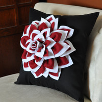 Dahlia Flower Decorative Pillow Two Toned White and by bedbuggs