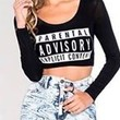 Black Parental Advisory Label Print Round Neck Long Sleeve Fitted Crop Top