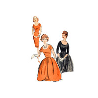 1950s Misses Fitted Sheath Dress Tulip Overskirt Sewing Pattern Size 12 Bust 32 Advance 9661