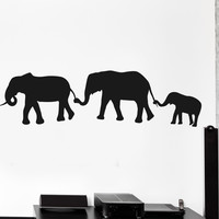 Wall Vinyl Decal Elephant Happy Family Animals Jungle Home Interior Decor z4076