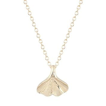 Tiny Gold Plated Nature Ginkgo Leaf Necklace Ginkgo Biloba Necklaces Chokers