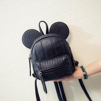 3 Colors Korea Style Cartoon Small Mouse Women Leather Backpacks Women's Messenger Shoulder Bags Children School Bags Mochila