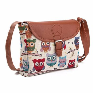 High quality Owl Printed Women Handbag Satchel Bag Crossbody Tote Bag Shoulder Messenger Bag