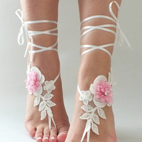 EXPRESS SHIPPING Ivory Pink Lace Barefoot Sandals Wedding Photography beach wedding barefoot sandals  Shoes Beach Sandals footless sandles