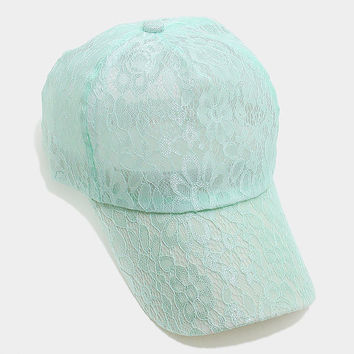 Mint Floral lace baseball cap, One Size Fits All, Unisex Gift Idea