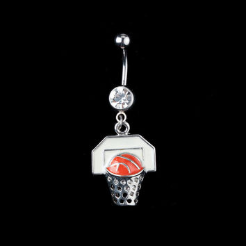 New Charming Dangle Crystal Navel Belly Ring Bling Barbell Button Ring Piercing Body Jewelry = 4804926596