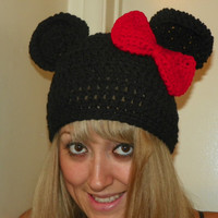 Minnie Mouse Hat with a Smaller Red Bow Mickey Mouse Beanie Hat for a Teen Adult Hand Crochet You Could Custom Order any Size