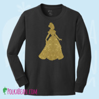 Glitter Disney Princess Belle from Beauty and the Beast Long Sleeve T-shirt