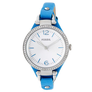 Fossil Women's 'Georgia' Blue Leather Watch
