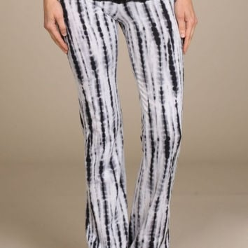 Lace Print Bootcut Pants - Black & Grey Mix