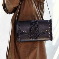 Pins And Needles Embellished Leather Clutch- Black One