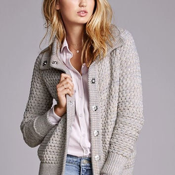 Popcorn-stitch Sweater Jacket