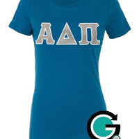CUSTOM Bella Ladies Favorite T Shirt with Stitched Greek (Sorority) Letters -- Perfect for the whole Chapter!