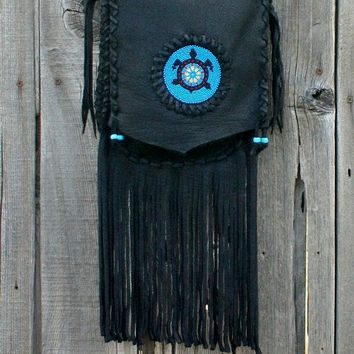 Black leather handbag , Fringed leather bag with Beaded turtle totem , Crossbody leather bag , Beaded turtle bag