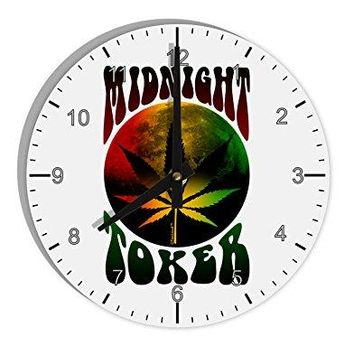 "TooLoud Midnight Toker Marijuana 8"" Round Wall Clock with Numbers"