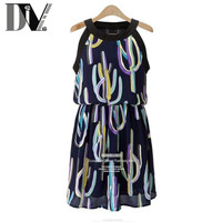 DIV Women Sleeveless Casual Halter Dresses O-Neck Cactus Printed Chiffon Female Summer Dresses High Waist Vestido Plus Size