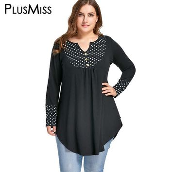 Plus Size 5XL Vintage Polka Dot Patchwork Tunic Asymmetrical Top Autumn 2017 Long Sleeve Loose Blouse Shirt Women Clothes
