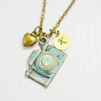 camera necklace,patina camera,hand stamped jewelry,customized initial,photographer gift idea,rustic camera,bridesmaid gift,heart jewelry