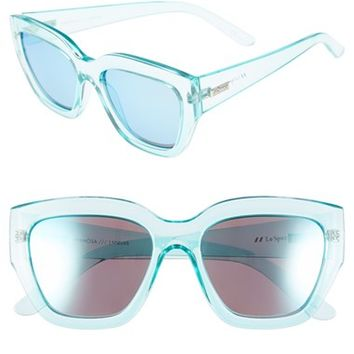 Women's Le Specs 'Hermosa' 54mm Oversize Cat Eye Sunglasses - Aqua/ Ice Blue Mirror
