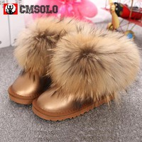 CMSOLO Ankle Boot Winter Children Brand Snow Boot Baby Girl Real Fox Hair Toddler Boy Genuine Leather Kid Warm Female Shoes 2017