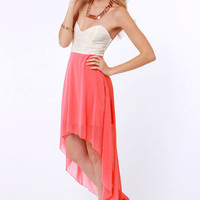 Modish of the Day Ivory and Coral Pink Dress