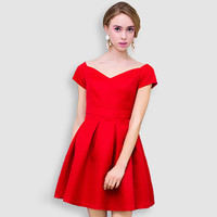 Red Wide Shoulder Pleated Mini Dress