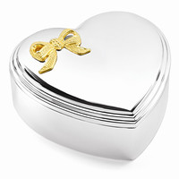Silver-plated Heart with Gold-tone Bow Jewelry Box - Engravable Gift